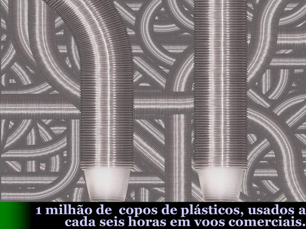 1 milhão de copos de plásticos, usados a cada seis horas em voos comerciais.