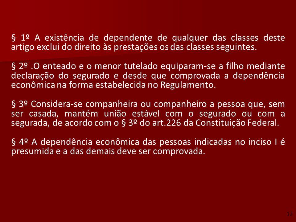 § 1º A existência de dependente de qualquer das classes deste artigo exclui do direito às prestações os das classes seguintes.