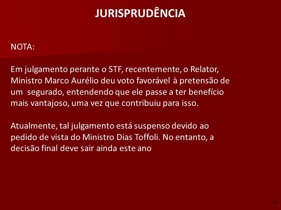 JURISPRUDÊNCIA NOTA: Em julgamento perante o STF, recentemente, o Relator, Ministro Marco Aurélio deu voto favorável à pretensão de.