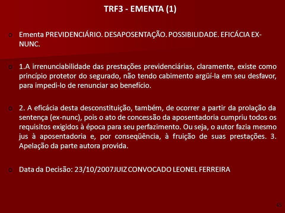 TRF3 - EMENTA (1)  Ementa PREVIDENCIÁRIO. DESAPOSENTAÇÃO. POSSIBILIDADE. EFICÁCIA EX- NUNC.