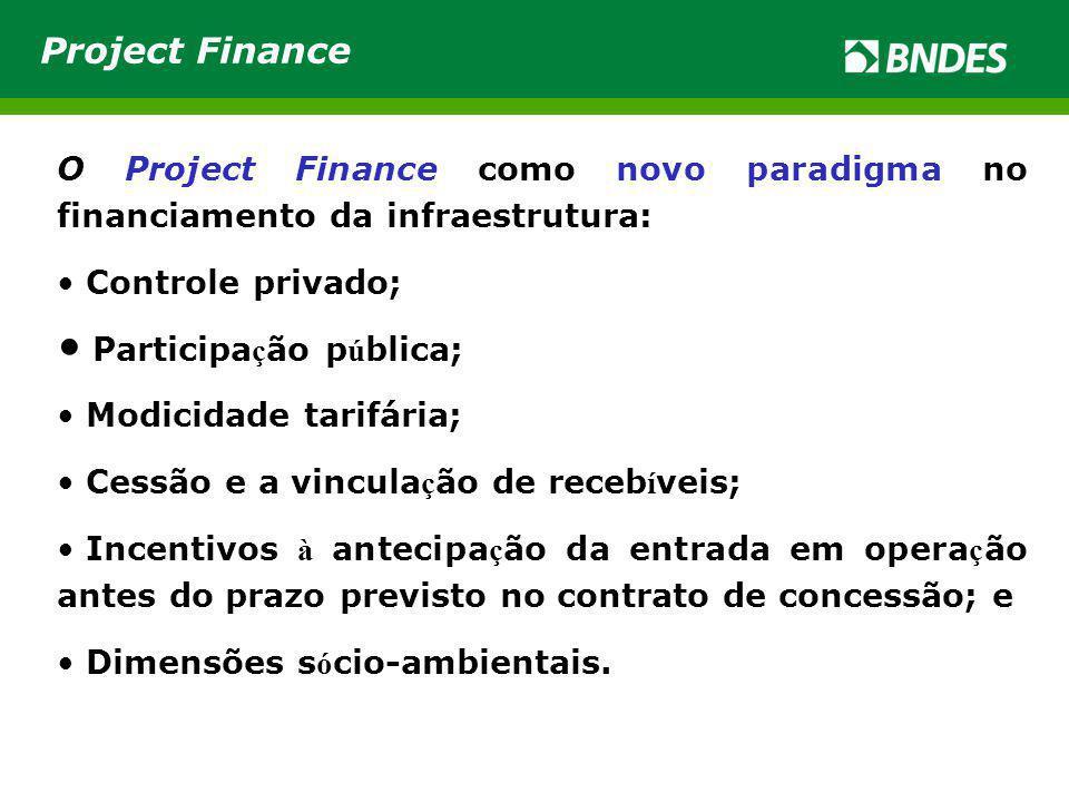 Project Finance O Project Finance como novo paradigma no financiamento da infraestrutura: Controle privado;