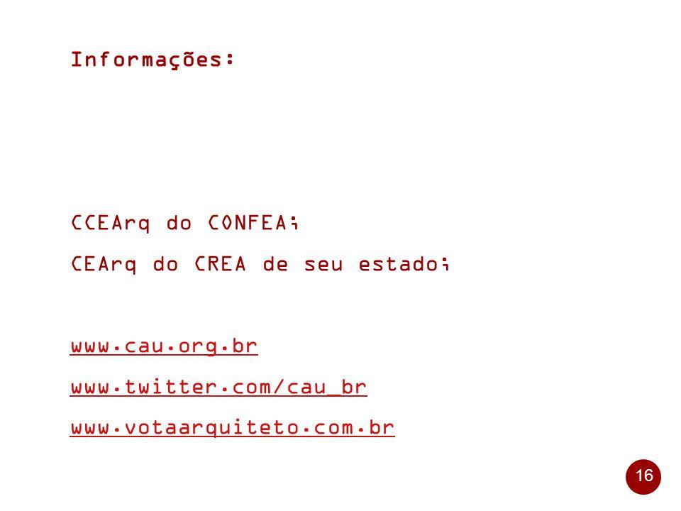 Informações: CCEArq do CONFEA; CEArq do CREA de seu estado; www.cau.org.br. www.twitter.com/cau_br.