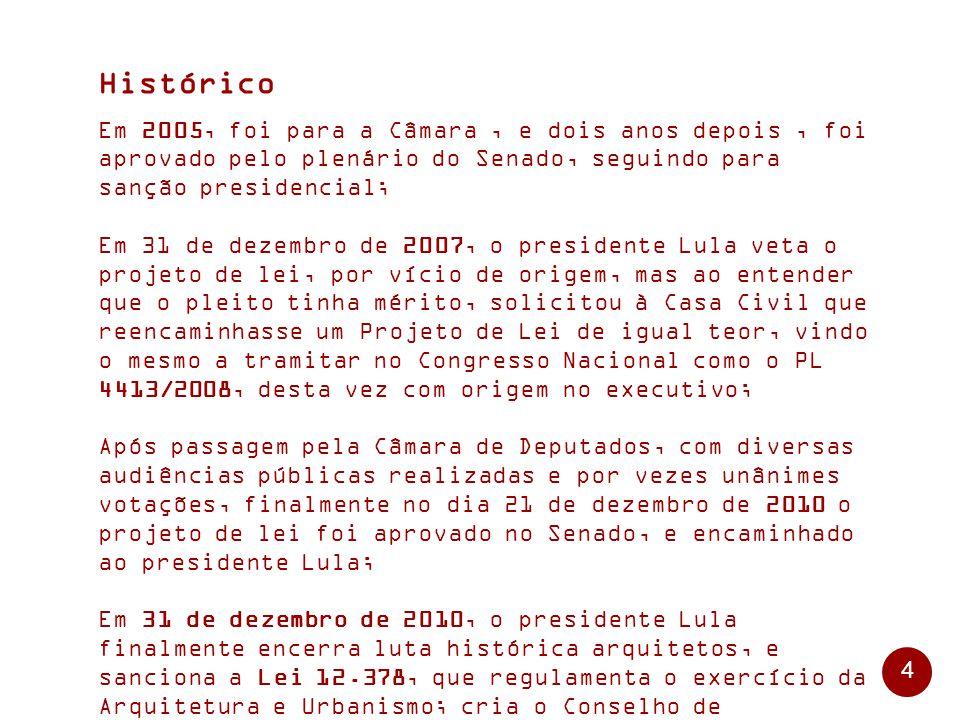 Histórico Em 2005, foi para a Câmara , e dois anos depois , foi aprovado pelo plenário do Senado, seguindo para sanção presidencial;