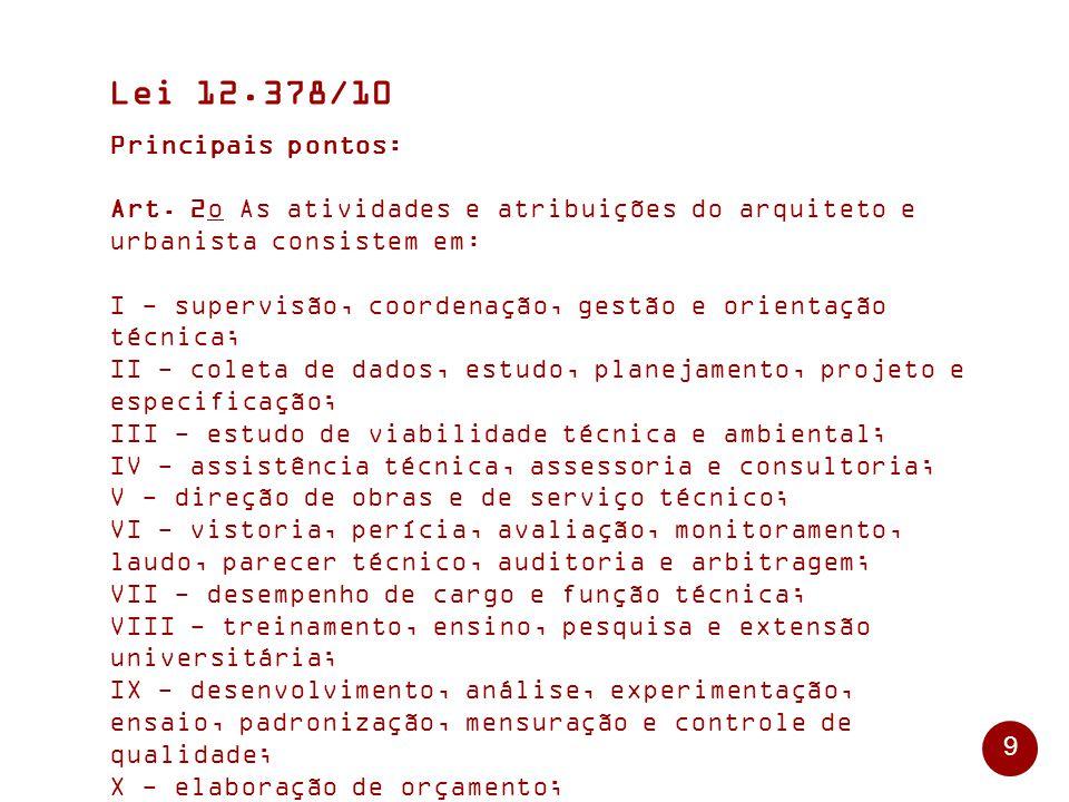 Lei 12.378/10 Principais pontos: