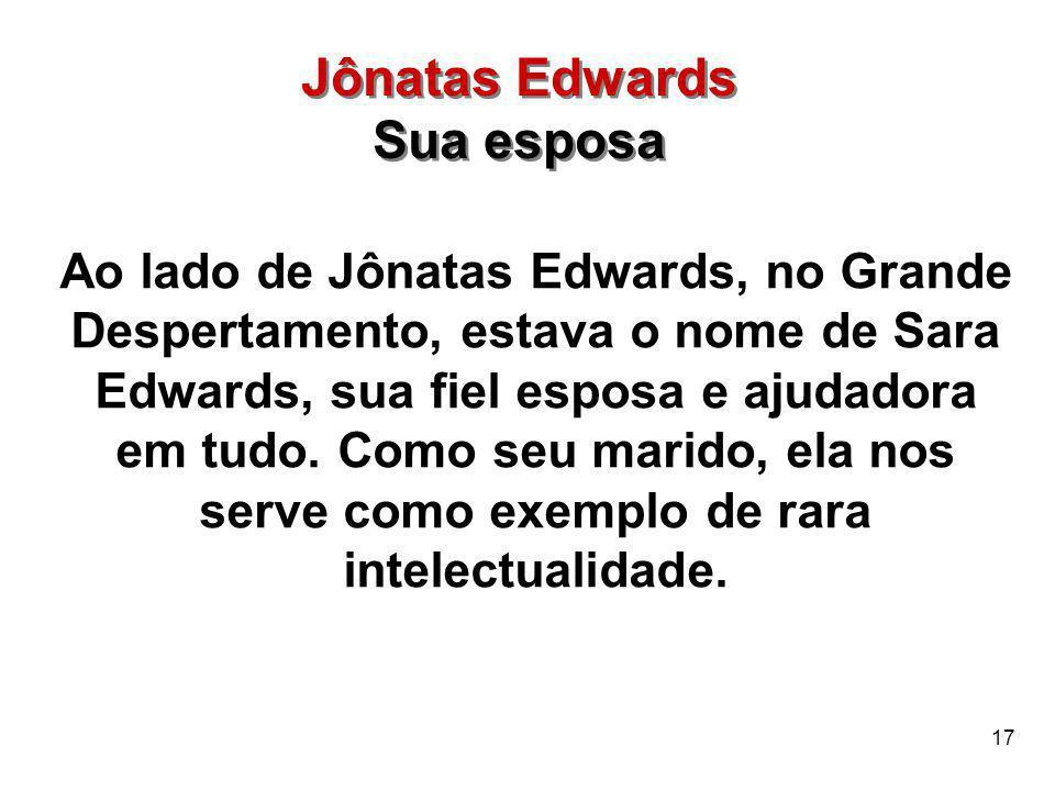 Jônatas Edwards Sua esposa