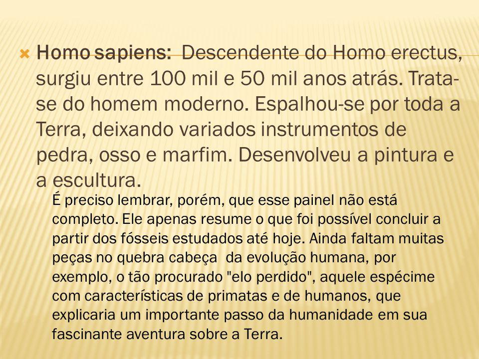 Homo sapiens: Descendente do Homo erectus, surgiu entre 100 mil e 50 mil anos atrás. Trata-se do homem moderno. Espalhou-se por toda a Terra, deixando variados instrumentos de pedra, osso e marfim. Desenvolveu a pintura e a escultura.