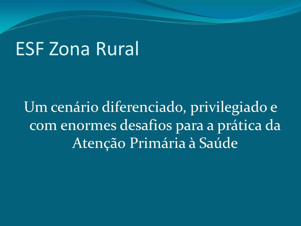 ESF Zona Rural Um cenário diferenciado, privilegiado e com enormes desafios para a prática da Atenção Primária à Saúde.