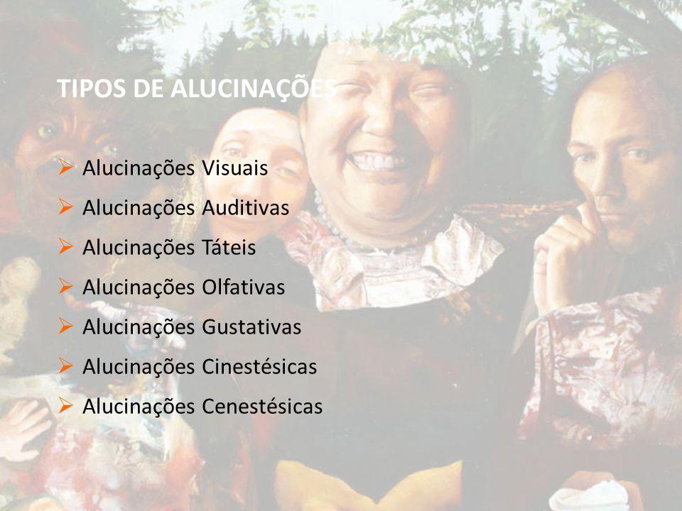 TIPOS DE ALUCINAÇÕES Alucinações Visuais Alucinações Auditivas