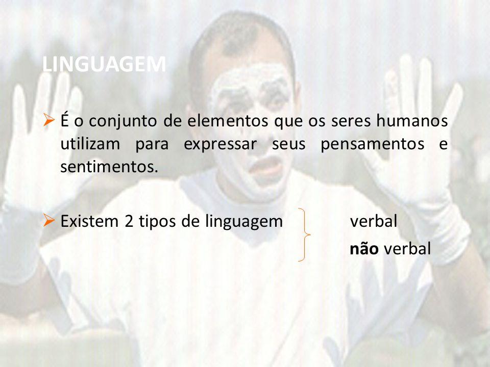LINGUAGEM É o conjunto de elementos que os seres humanos utilizam para expressar seus pensamentos e sentimentos.