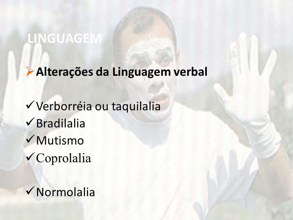 LINGUAGEM Alterações da Linguagem verbal Verborréia ou taquilalia