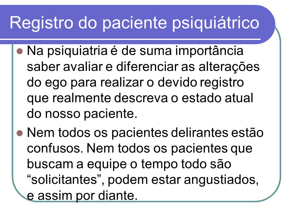 Registro do paciente psiquiátrico