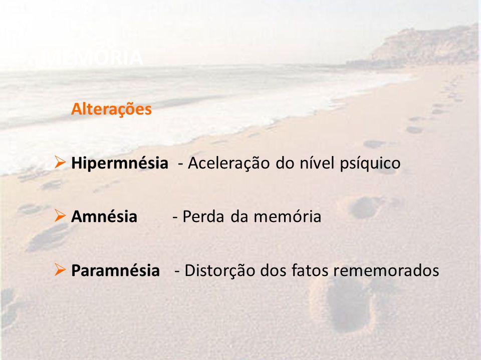 MEMÓRIA Alterações Hipermnésia - Aceleração do nível psíquico