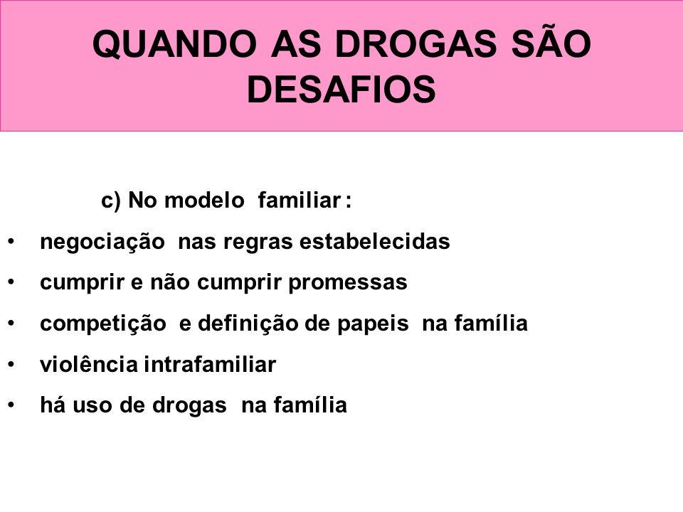 QUANDO AS DROGAS SÃO DESAFIOS