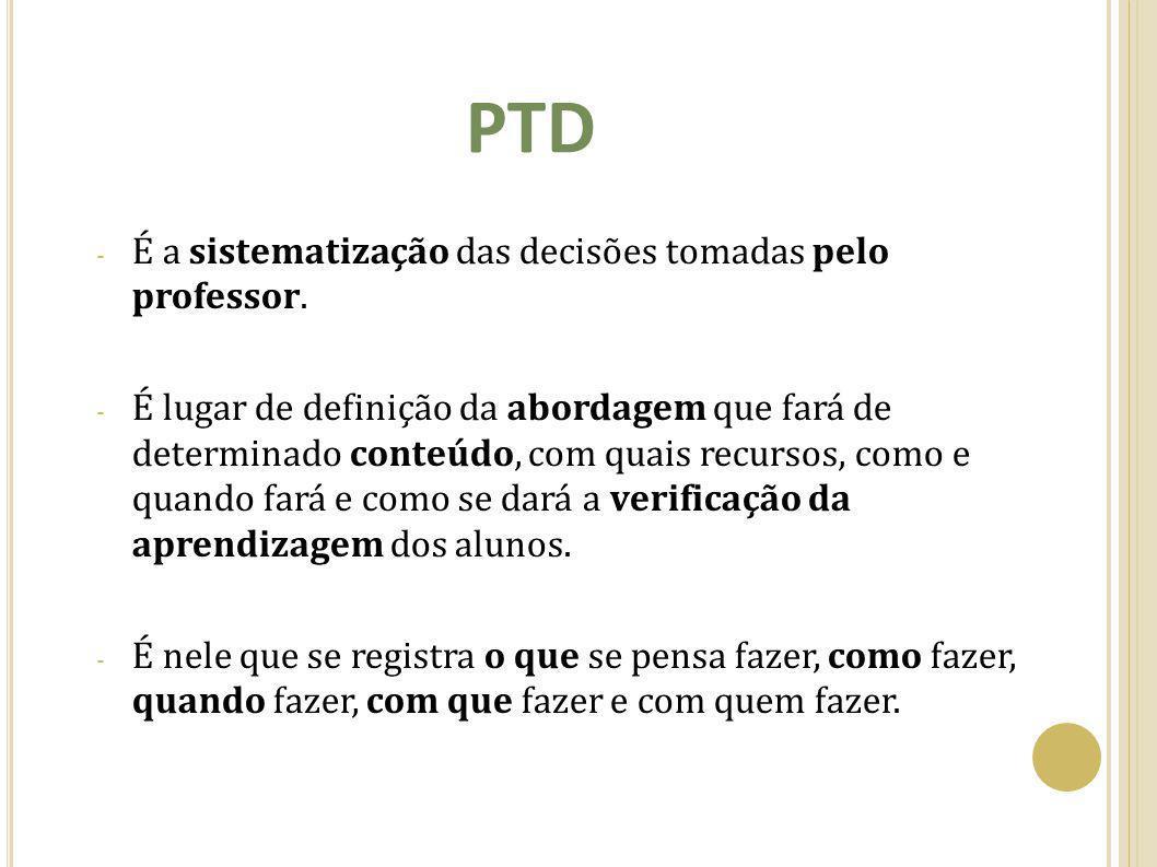 PTD É a sistematização das decisões tomadas pelo professor.