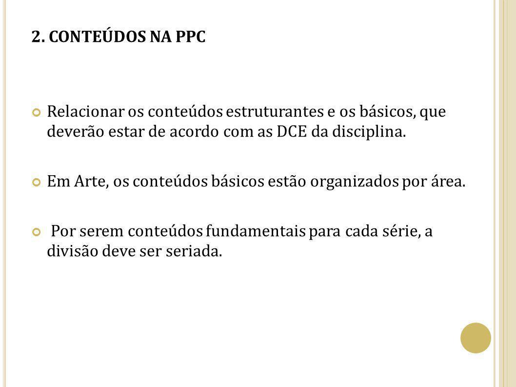 2. CONTEÚDOS NA PPC Relacionar os conteúdos estruturantes e os básicos, que deverão estar de acordo com as DCE da disciplina.