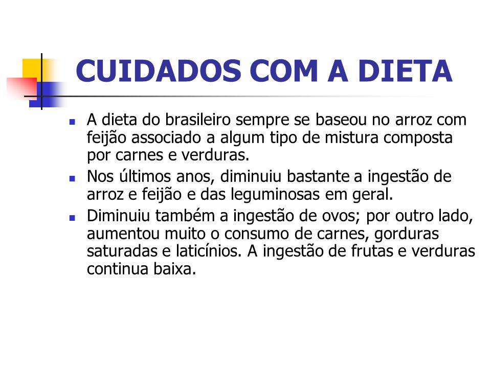 CUIDADOS COM A DIETA A dieta do brasileiro sempre se baseou no arroz com feijão associado a algum tipo de mistura composta por carnes e verduras.