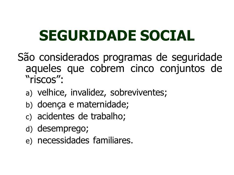 SEGURIDADE SOCIAL São considerados programas de seguridade aqueles que cobrem cinco conjuntos de riscos :