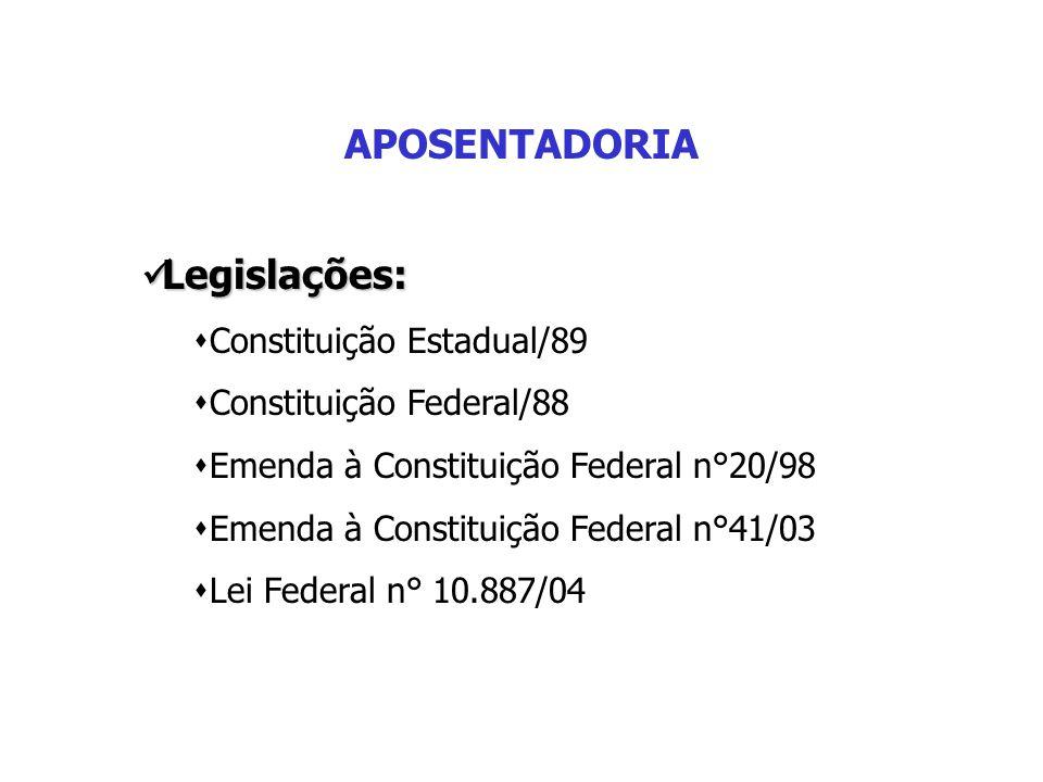 APOSENTADORIA Legislações: Constituição Estadual/89