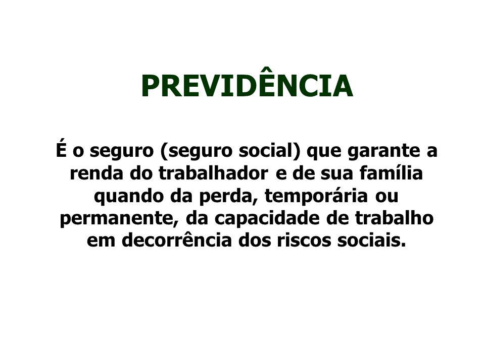 PREVIDÊNCIA É o seguro (seguro social) que garante a renda do trabalhador e de sua família quando da perda, temporária ou permanente, da capacidade de trabalho em decorrência dos riscos sociais.
