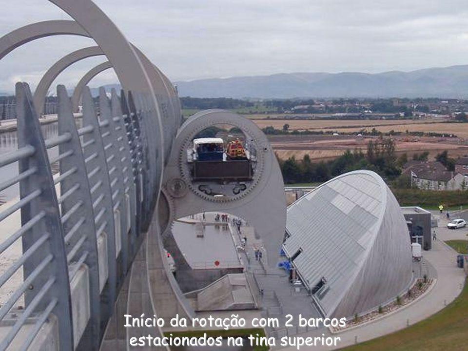 Início da rotação com 2 barcos estacionados na tina superior