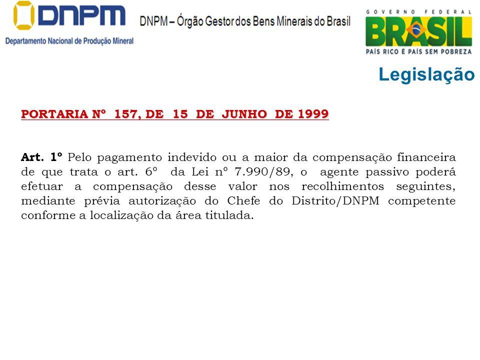 Legislação PORTARIA Nº 157, DE 15 DE JUNHO DE 1999