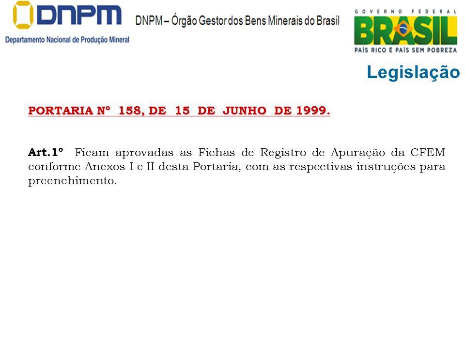 Legislação PORTARIA Nº 158, DE 15 DE JUNHO DE 1999.