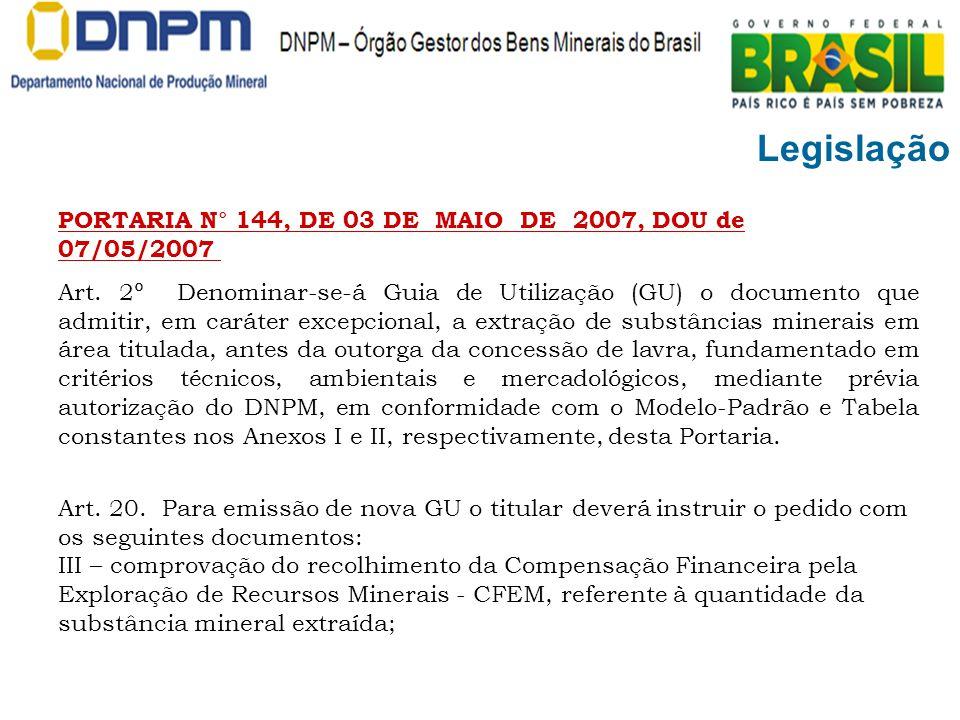 Legislação PORTARIA N° 144, DE 03 DE MAIO DE 2007, DOU de 07/05/2007