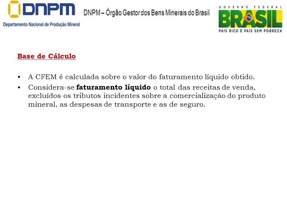 Base de Cálculo A CFEM é calculada sobre o valor do faturamento líquido obtido.