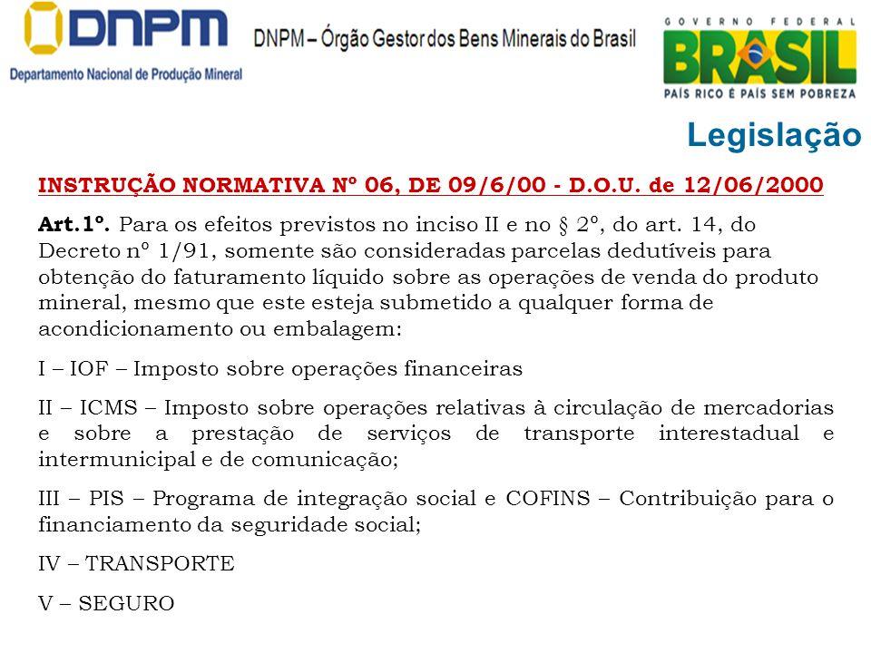 Legislação INSTRUÇÃO NORMATIVA Nº 06, DE 09/6/00 - D.O.U. de 12/06/2000.