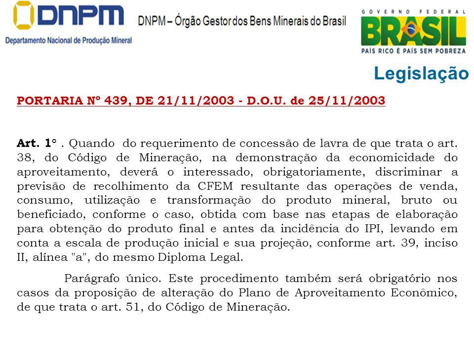 Legislação PORTARIA Nº 439, DE 21/11/2003 - D.O.U. de 25/11/2003