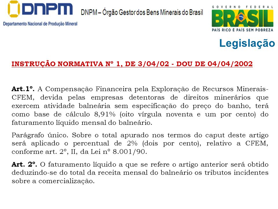 Legislação INSTRUÇÃO NORMATIVA Nº 1, DE 3/04/02 - DOU DE 04/04/2002