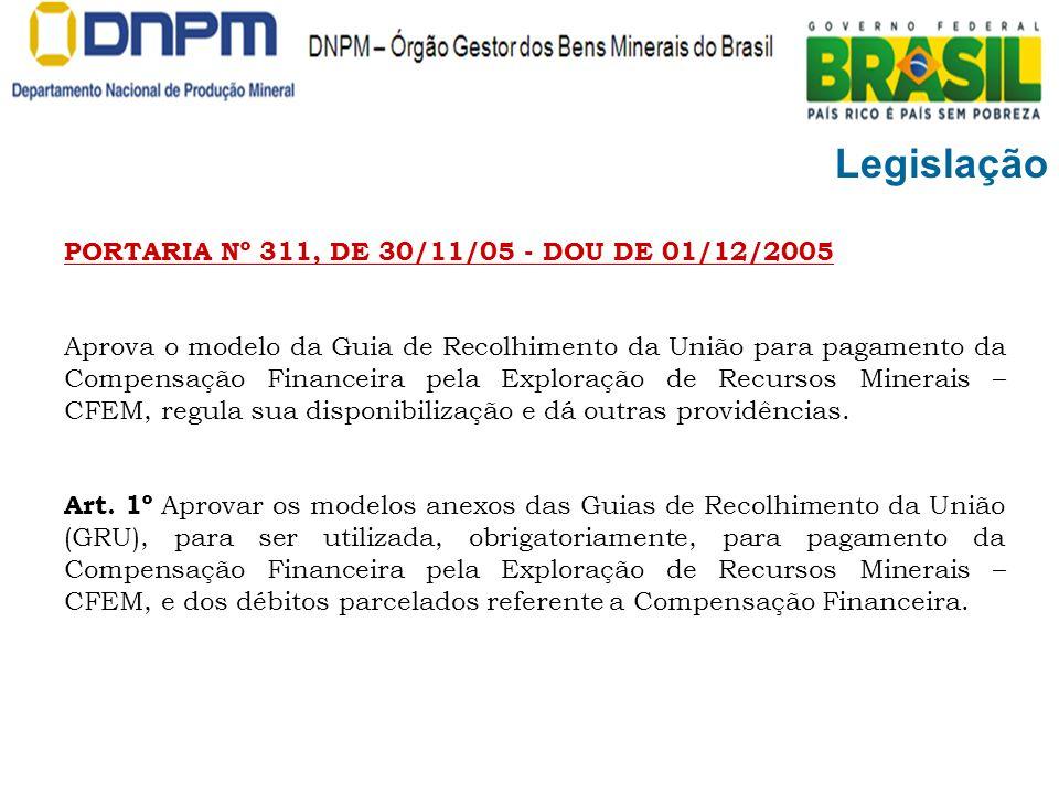 Legislação PORTARIA Nº 311, DE 30/11/05 - DOU DE 01/12/2005