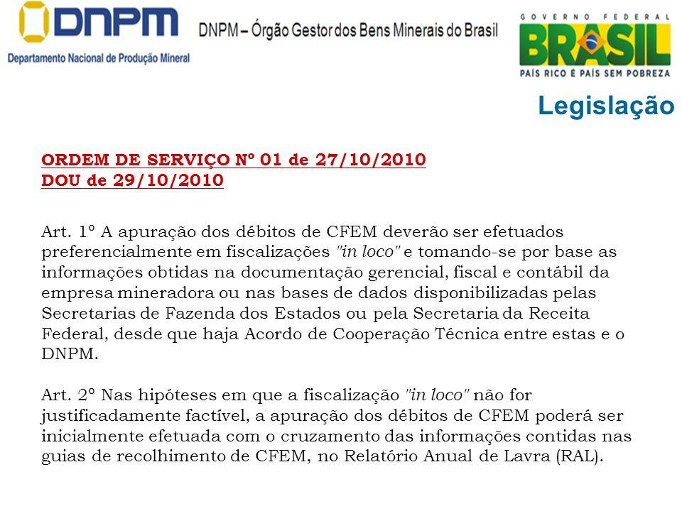 Legislação ORDEM DE SERVIÇO Nº 01 de 27/10/2010 DOU de 29/10/2010