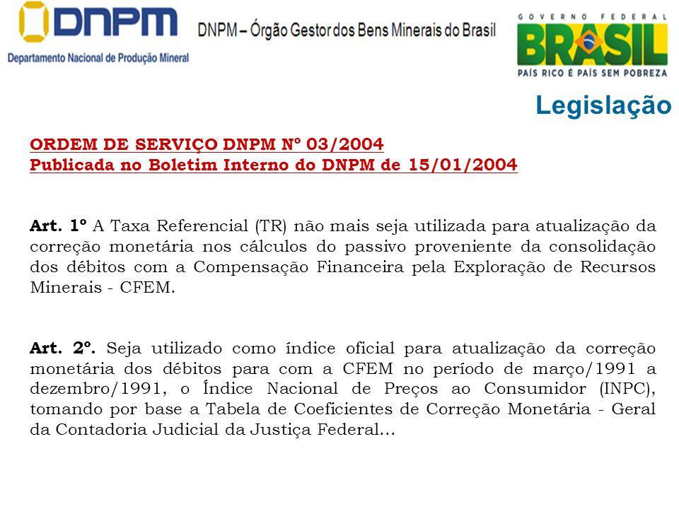Legislação ORDEM DE SERVIÇO DNPM Nº 03/2004 Publicada no Boletim Interno do DNPM de 15/01/2004.