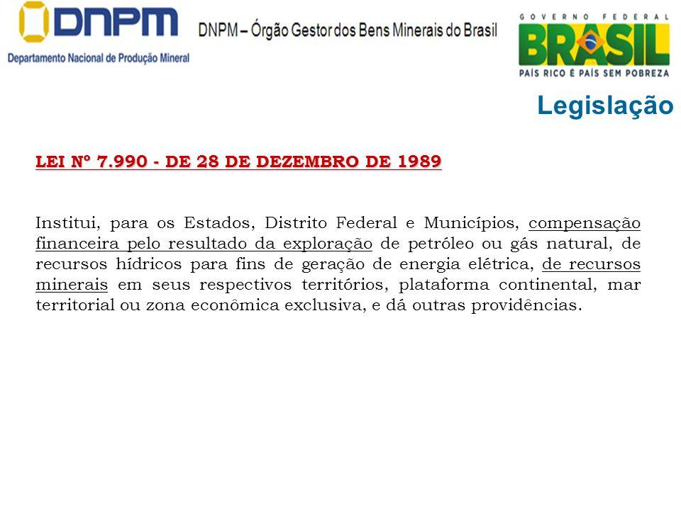 Legislação LEI Nº 7.990 - DE 28 DE DEZEMBRO DE 1989