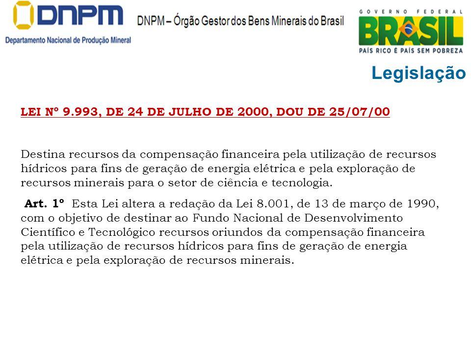 Legislação LEI Nº 9.993, DE 24 DE JULHO DE 2000, DOU DE 25/07/00