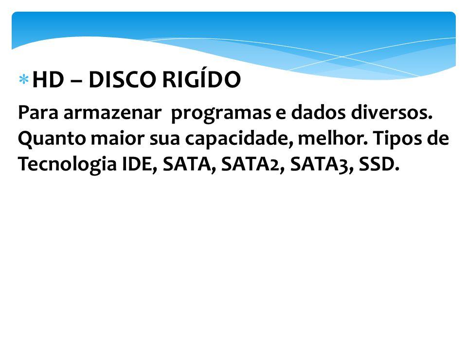 HD – DISCO RIGÍDO Para armazenar programas e dados diversos.