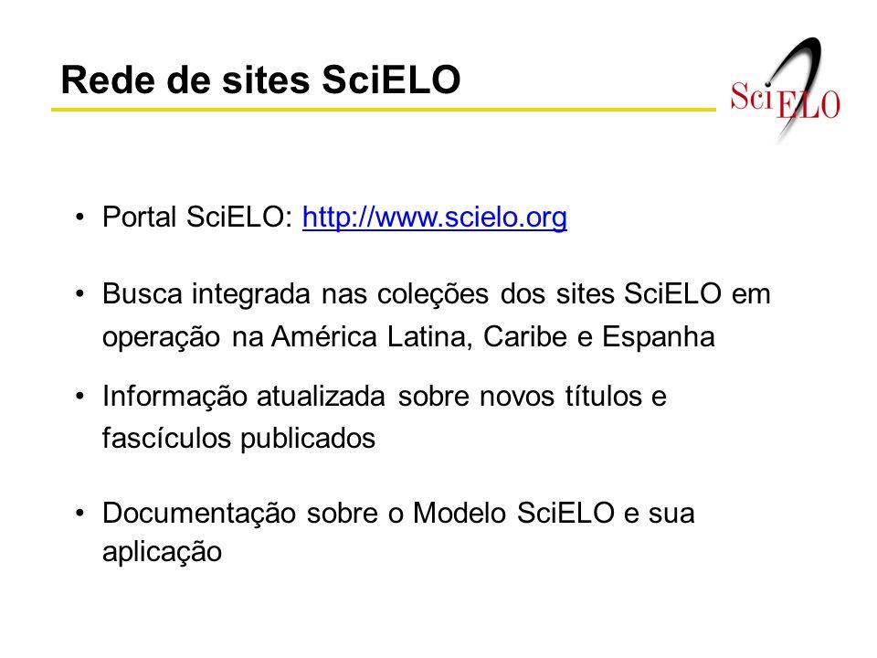 Rede de sites SciELO Portal SciELO: http://www.scielo.org