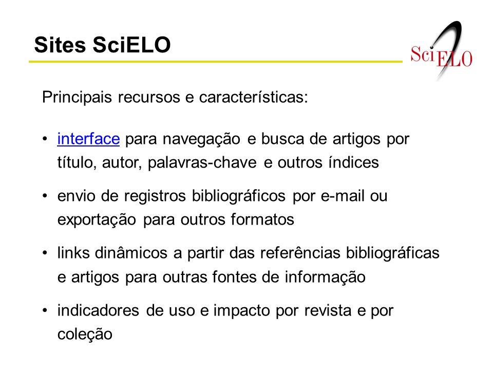 Sites SciELO Principais recursos e características: