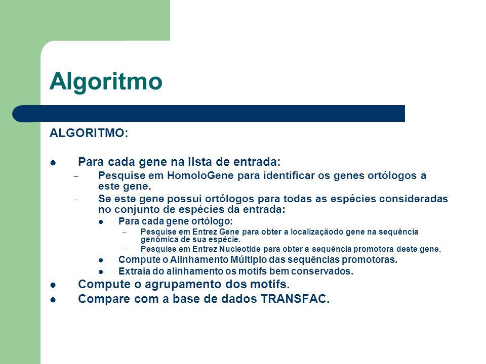 Algoritmo ALGORITMO: Para cada gene na lista de entrada:
