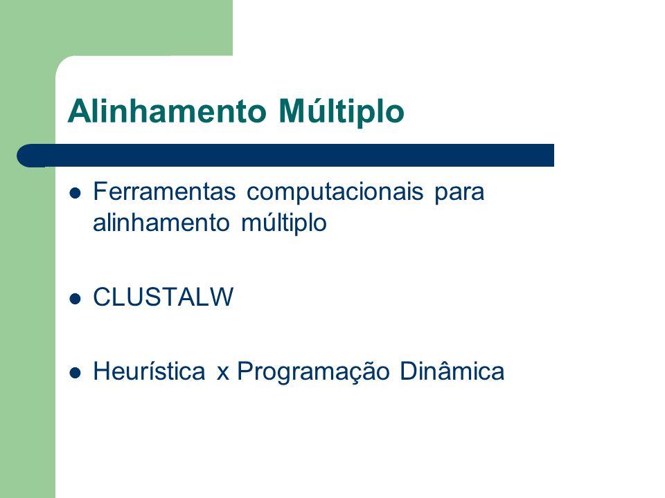 Alinhamento Múltiplo Ferramentas computacionais para alinhamento múltiplo. CLUSTALW. Heurística x Programação Dinâmica.