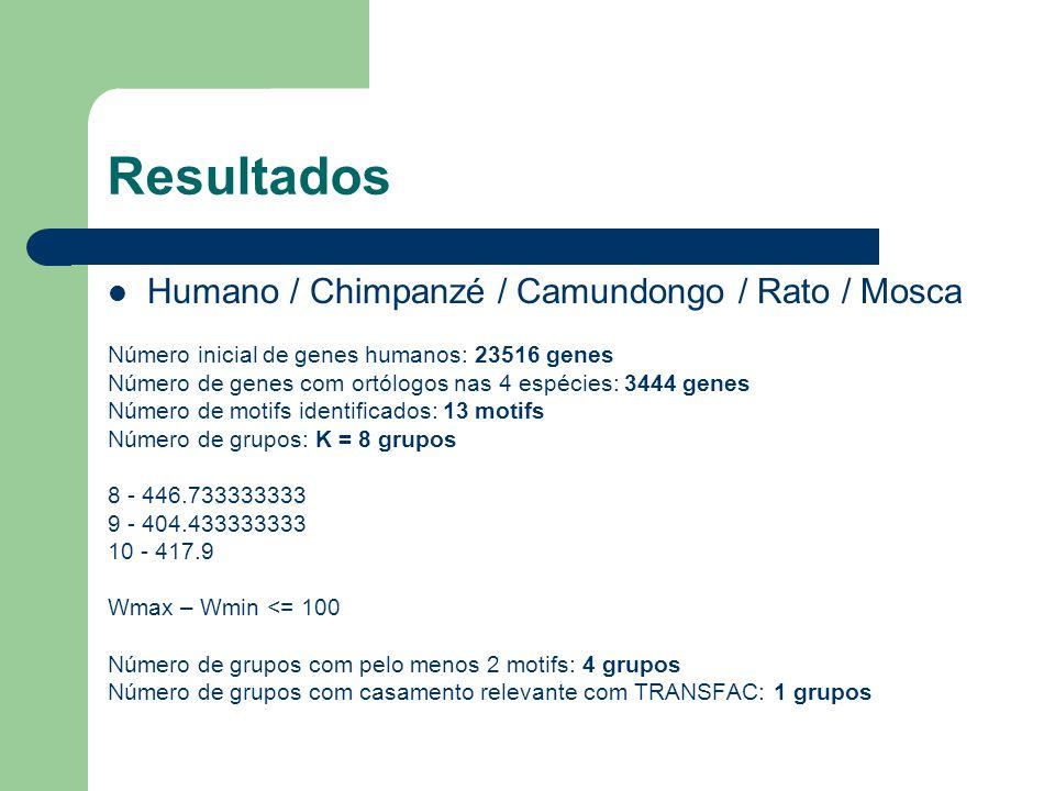 Resultados Humano / Chimpanzé / Camundongo / Rato / Mosca