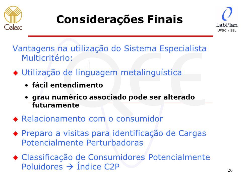 Considerações Finais Vantagens na utilização do Sistema Especialista Multicritério: Utilização de linguagem metalinguística.