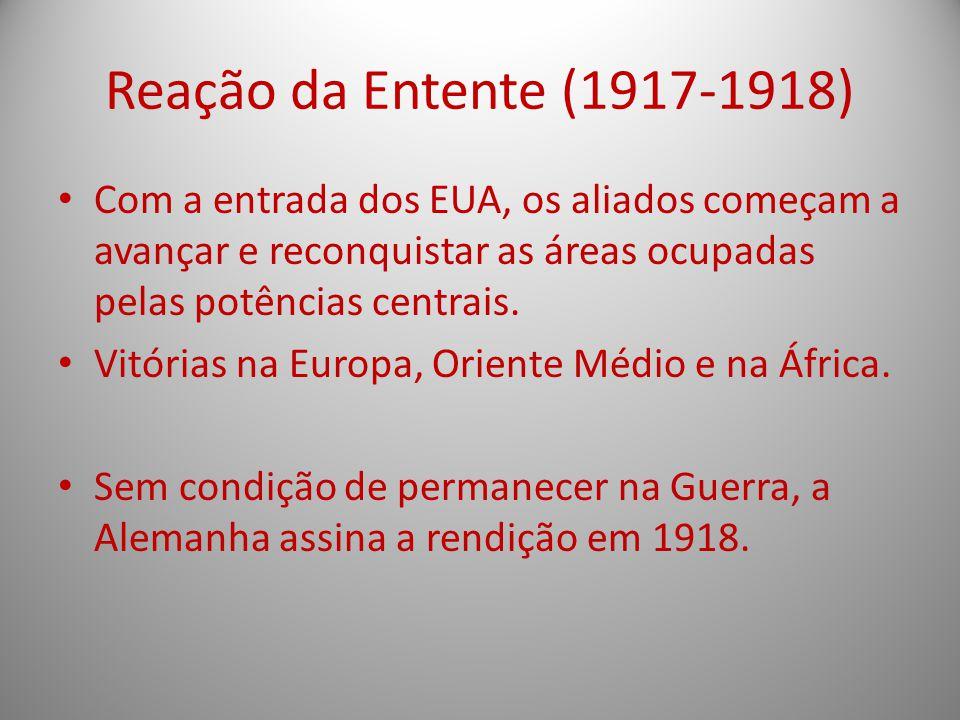 Reação da Entente (1917-1918) Com a entrada dos EUA, os aliados começam a avançar e reconquistar as áreas ocupadas pelas potências centrais.