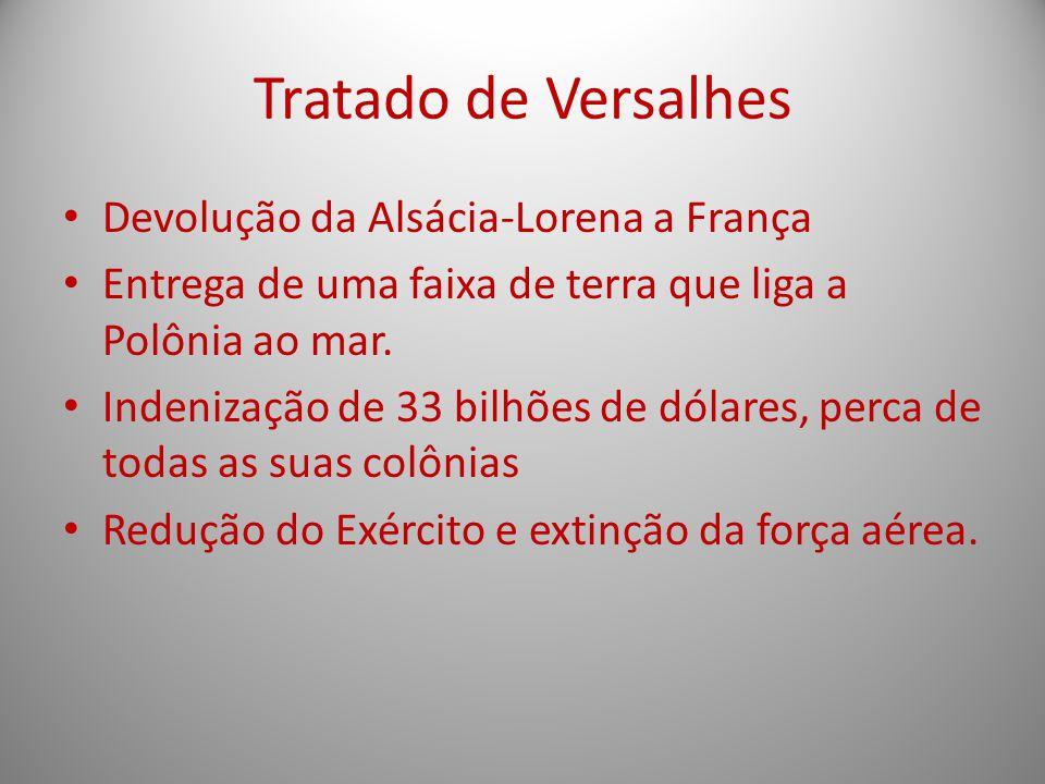 Tratado de Versalhes Devolução da Alsácia-Lorena a França