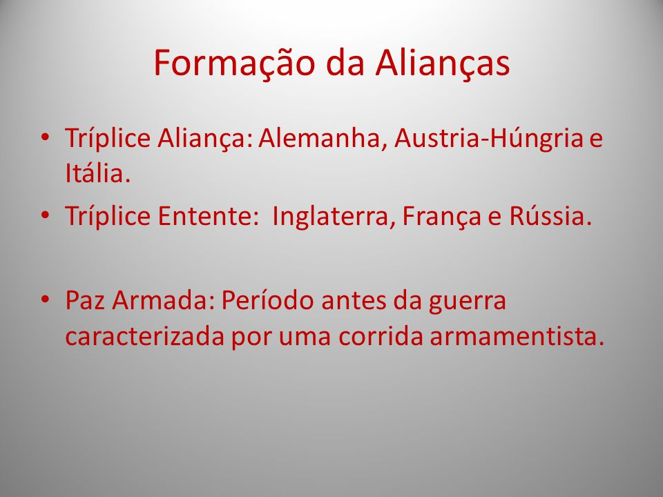 Formação da Alianças Tríplice Aliança: Alemanha, Austria-Húngria e Itália. Tríplice Entente: Inglaterra, França e Rússia.