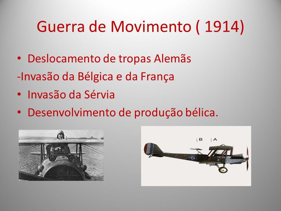 Guerra de Movimento ( 1914) Deslocamento de tropas Alemãs