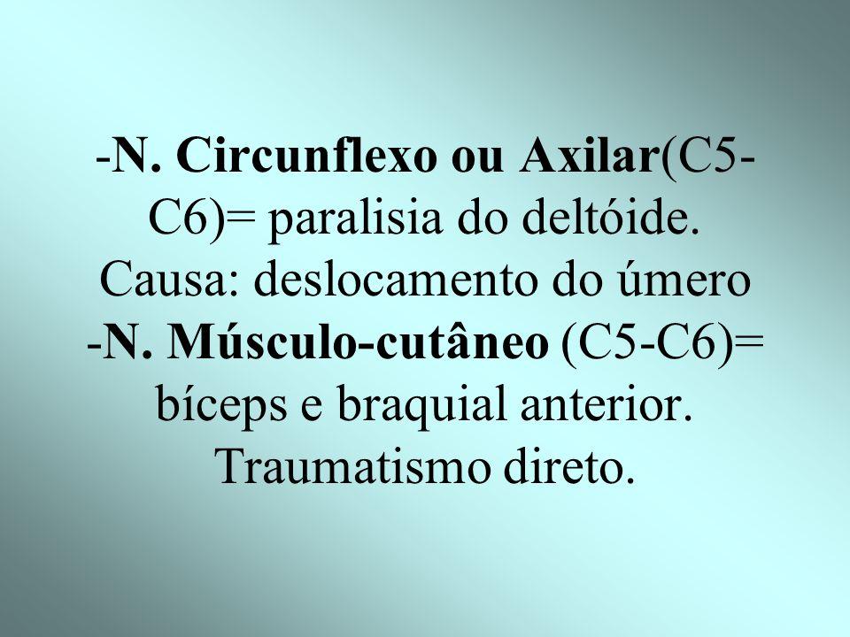 -N. Circunflexo ou Axilar(C5-C6)= paralisia do deltóide