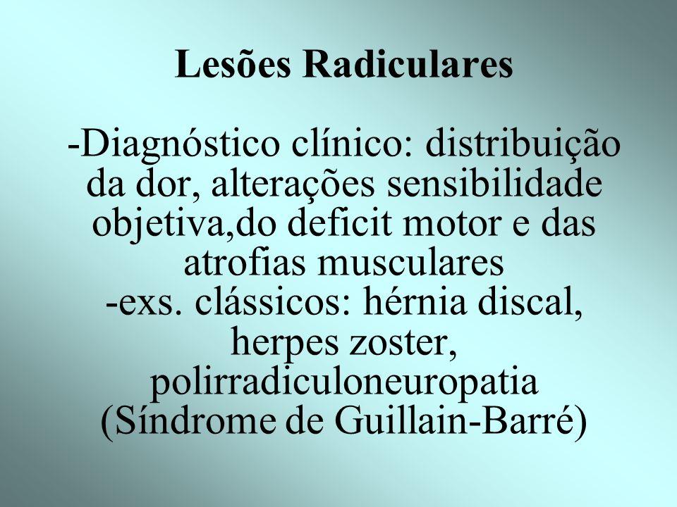 Lesões Radiculares -Diagnóstico clínico: distribuição da dor, alterações sensibilidade objetiva,do deficit motor e das atrofias musculares -exs.