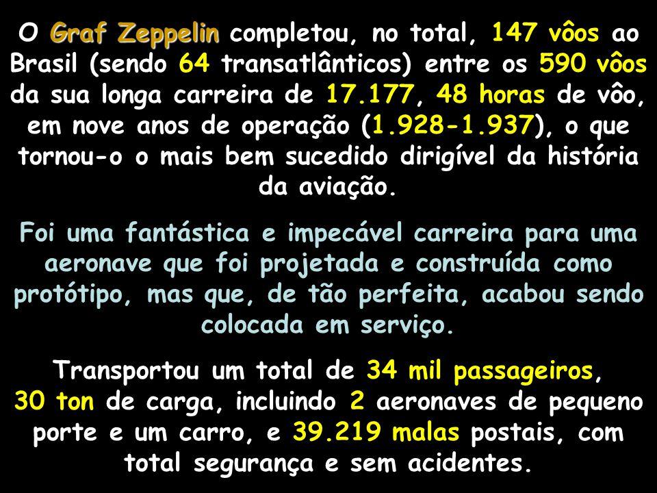 O Graf Zeppelin completou, no total, 147 vôos ao Brasil (sendo 64 transatlânticos) entre os 590 vôos da sua longa carreira de 17.177, 48 horas de vôo, em nove anos de operação (1.928-1.937), o que tornou-o o mais bem sucedido dirigível da história da aviação.